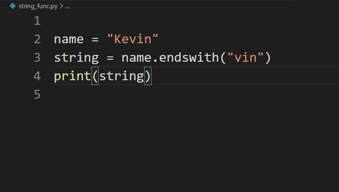 endswith function